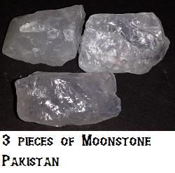 3 Moonstone specimens