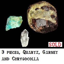 3 pieces. A piece of Garnet, Quartz Crystal and Chrysocolla